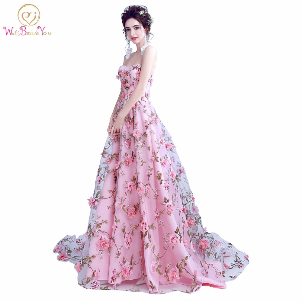 Walk Beside You Pink Flowers Prom Dresses 2019 Long Strapless Sweetheart Vestido De Formatura Longo Evening Gown Party Halloween