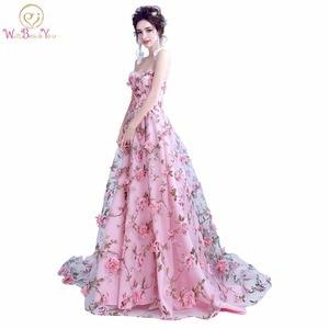 Image 1 - Walk bside You vestidos de graduación con flores, color rosa, Largo sin tirantes, encantador, vestido de formatura largo, vestido de noche para fiesta de Halloween, 2020