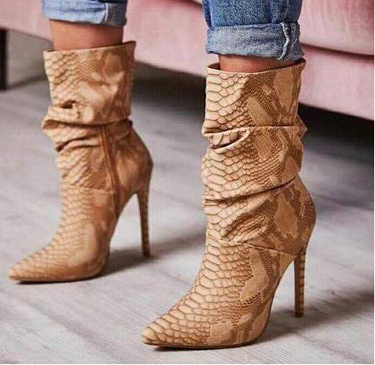Woman Ankle Boots Brown Snakeskin Print Leather Short Booties Sexy Pointed Toe Thin Heel Wrinkled Skin Tight High Boots in Over the Knee Boots from Shoes