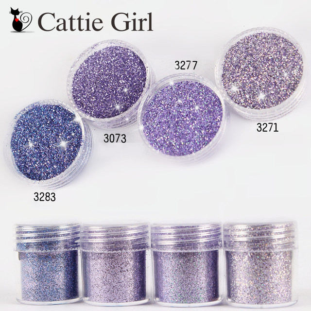 1set Purple Holo Nail Glitter Powder Sequins Mixed Nail Sparkles Makeup Flakies Dust Powder Nail Art Decorations Nails Tools