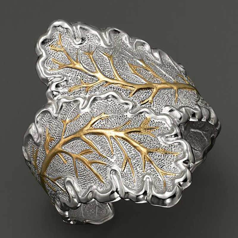 Vintage Jewelry Retro Silver Color Gold Ornament Large Leaf Rings Men Women Open Cuff Cocktail Finger Ring Punk Style Z3M110