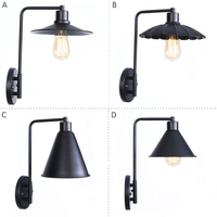 Modern Industrial Wall Sconce Industrial Brushed Dark Black Wall Lights Long Arm Pole Metal Shade Wall Mount Lamp Home Fixtures