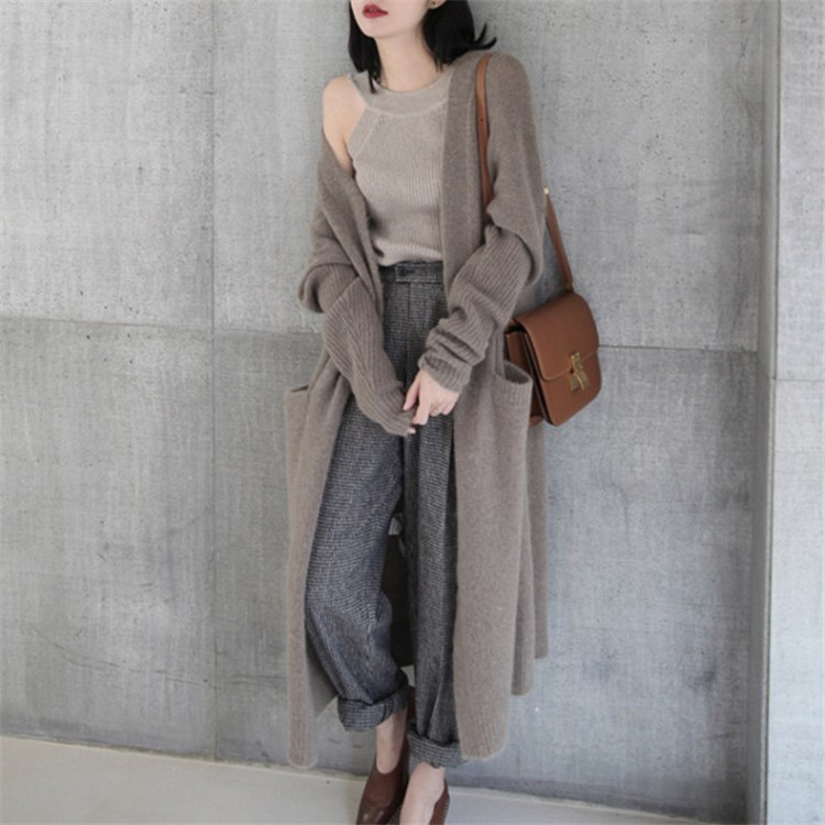 H.SA Women Long Maxi Sweater Cardigans 2018 Thick Cashmere Knit Jumpers Open Stitch Oversized Knit Cardigans Long Jacket Coat