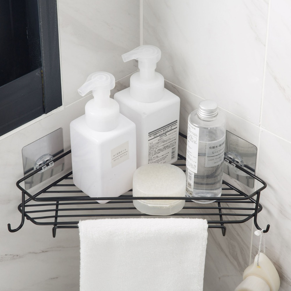 Wall Bathroom Triangle Corner Storage Shelf Shampoo Soap Cosmetic Holder With Hooks Hangers Bath Storage Rack shelf
