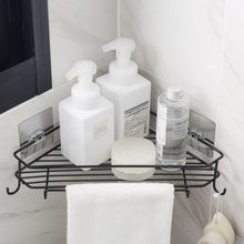 Wall Bathroom Triangle Corner Storage Shelf Shampoo Soap Cosmetic Holder With Hooks Hangers Bath Storage Rack(China)