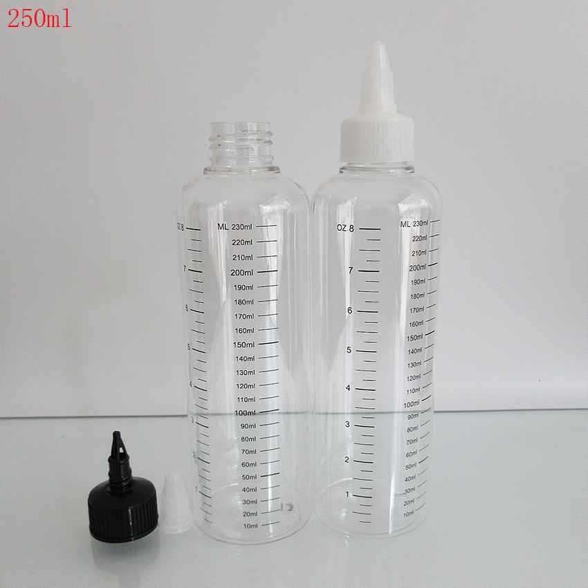 2pcs 250ML(230ml Scale Printing)Plastic Bottle,PET Bottle With Graduation For E Liquid ,Tattoo Ink,Hair Gel Lotion,Twist Off Cap