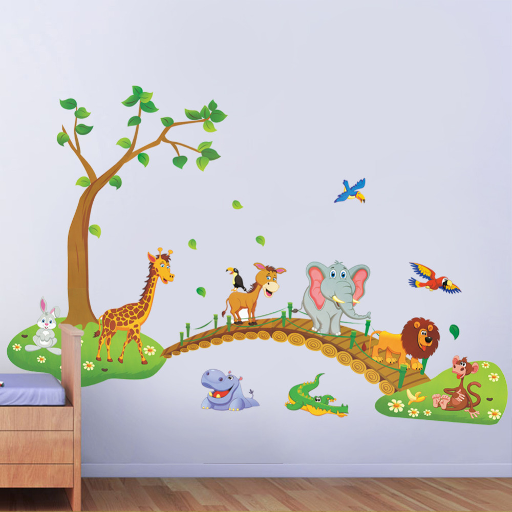 Cartoon Jungle wild animal wall stickers for kids rooms home decor lion  Giraffe elephant birds living