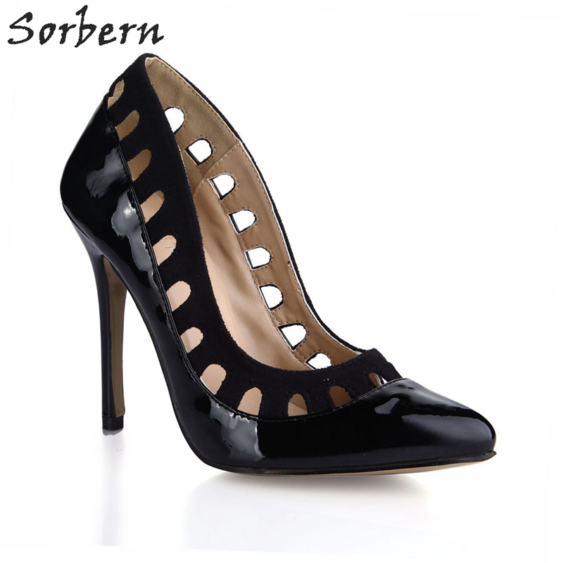 Sorbern Black Shiny Women Pumps Cut Out High Fashion Shoes Plus Size Women Unique Shoes Office Heels Custom Size 34 Shoes shoulder cut plus size flower blouse