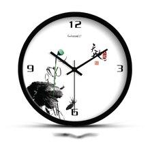 c48cb6123 10/12/14 بوصة النمط الصيني ساعة الحائط خمر الحبر رسم المعادن إبرة هادئة  شنقا الساعات مكتب جدار التعميم ووتش الديكور