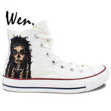 Wen Design Custom Hand Painted Shoes Candy Skull Girl Men Women's White High Top Canvas Sneakers Christmas Gifts