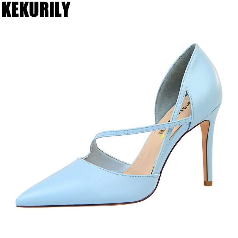 arriving first rate top design US $24.96 40% OFF|High Heels Woman Pumps leather Sandals Pointed Toe Pump  Shallow Hollow shoes heel Slides Sandalias mujer Black light blue gray-in  ...