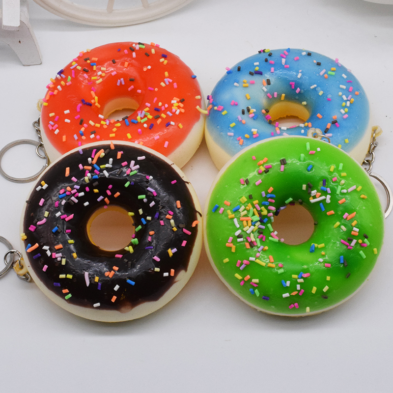 Squishy Squeeze Colourful Doughnut Decoration Key Mobile Phone Straps Funny Gadgets Anti Stress Novelty Antistress Toy Gags & Practical Jokes Novelty & Gag Toys