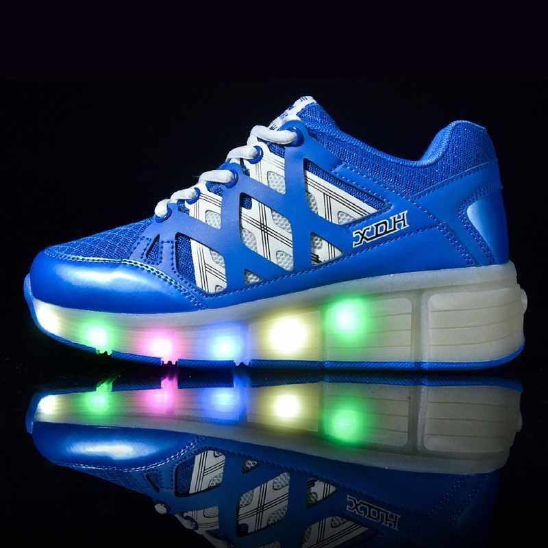 ילדים זוהר סניקרס סניקרס עם גלגלי Led אור עד רולר גלגיליות ספורט זוהר מואר נעליים לילדים בני ורוד אדום כחול