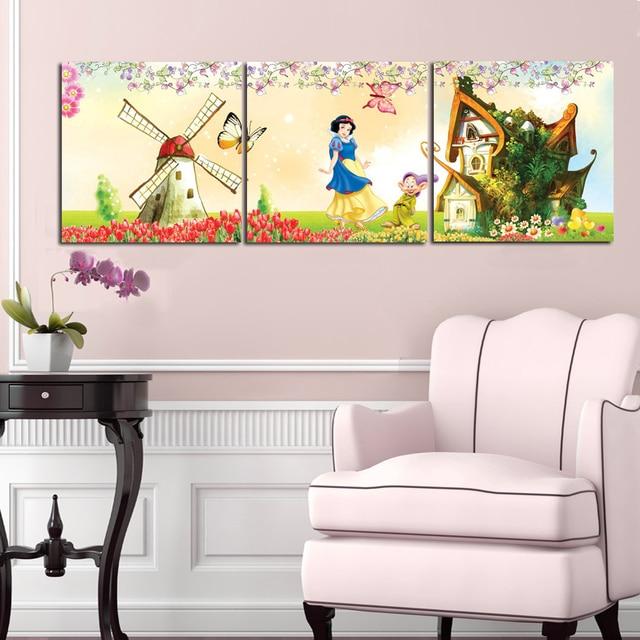 3 Panel Cartoon Castle Canvas Painting Snow White Wall Art Printing