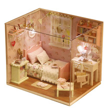 DIY деревянный дом Miniaturas с мебели DIY Миниатюрный Дом Кукольный домик игрушки для детей подарок на Рождество и день рождения H02