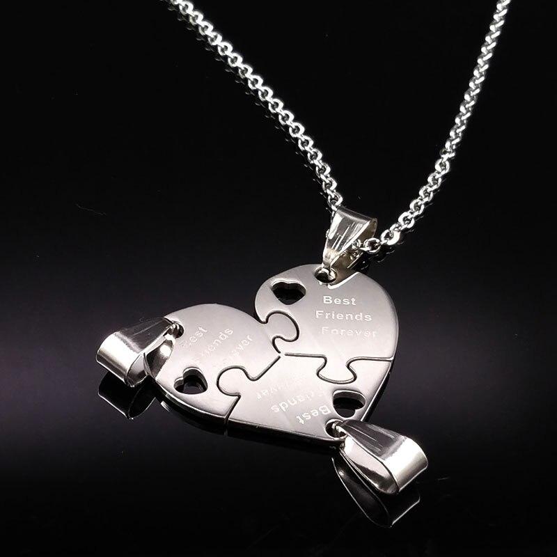 3Pcs Best Friends Pendant Necklaces Silver Plated Choker Necs