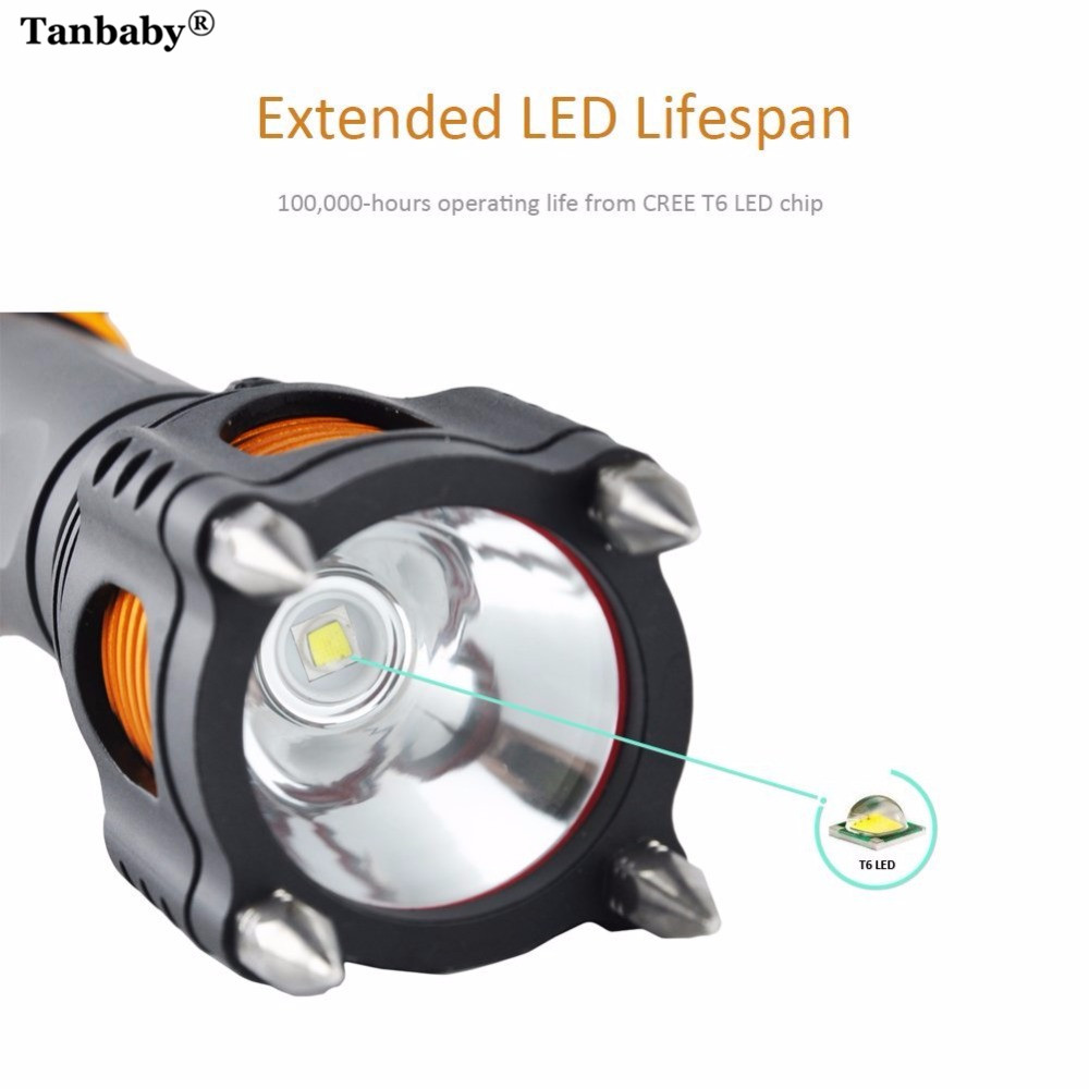Tanbaby CREE T6 LED Flashlight Camping Self Defense Tactical Recharge TorchLamp 5-Mode Lantern Attack Powerful Head Alarm 2000LM