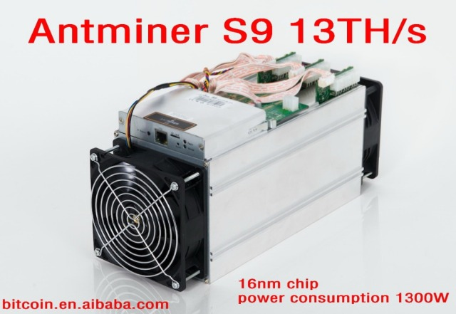 AntMiner S9 13Th/s two fan 2017 New 13000Gh/s Asic Miner, Bitcon Miner,16nm BTC Mining,Power Consumption 1300W SHA256