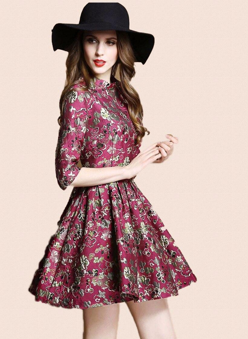 Hot Sale Vintage 70S Ethnic Floral Dresses, Embroidered -2080