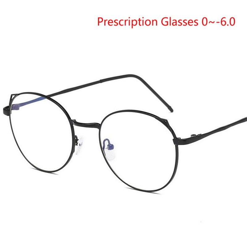 Prescription -0.5 -0.75 -1.0 To -6.0 Cat Eye Myopia Eyeglasses For Women Retro 1.56/1.61 Aspherical Lens Nearsighted Glasses