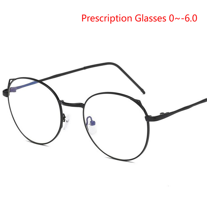 Damenbrillen Vereinigt Rezept-0,5-0,75-1,0 Zu-6,0 Katze Auge Myopie Brillen Für Frauen Retro 1,56/1,61 Asphärische Linse Kurzsichtig Gläser Seien Sie Im Design Neu