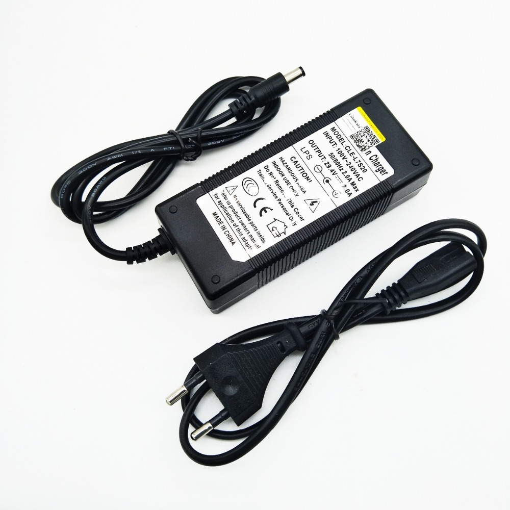 HK Liitokala 29 4 v2 bateria de lítio bicicleta elétrica carregador 24 V carregador de bateria pacote 2 RCA conector da ligação