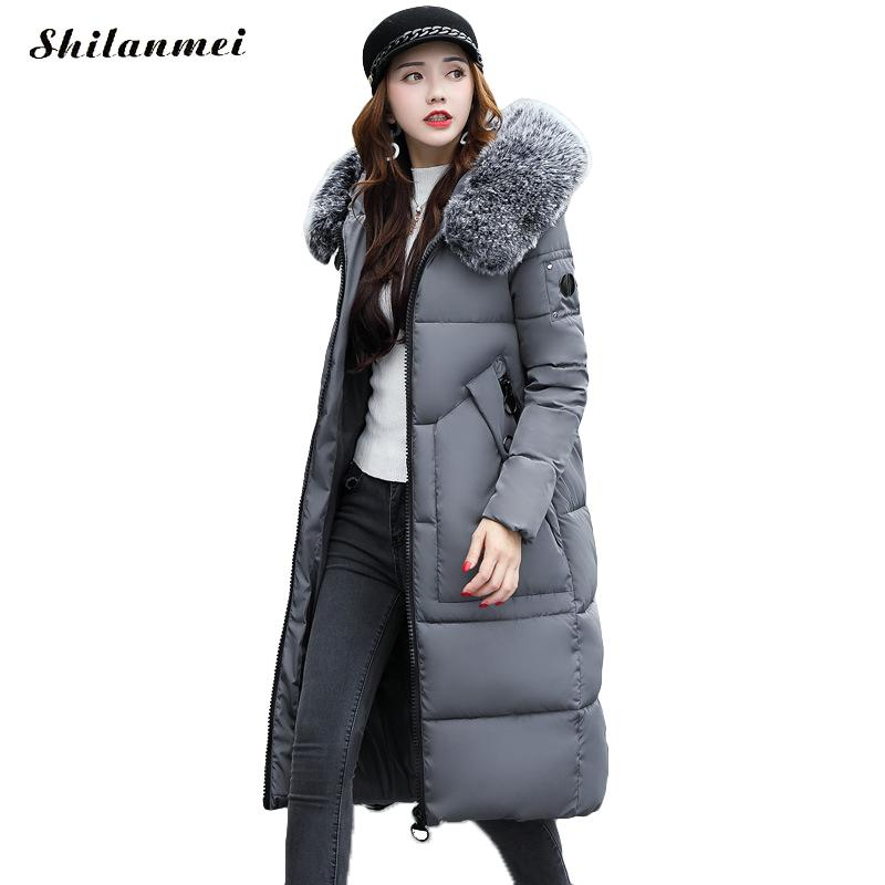 2017 New Long Winter Jacket Women Big Zipper Thick Jas Warm Cotton Coat Hooded Fur Collar Black Female Parkas Padded Outerwear 2017 new winter coat for women slim black solid hooded long warm cotton parkas female thicker zipper red jacket padded