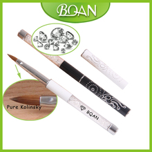 BQAN Free Shipping Crystal White Nail Art Design  Nail Art Brush Pure Kolinsky Brush 8#