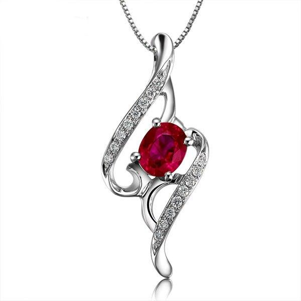 GVBORI 18 К Белое золото Рубин Драгоценный Алмаз Цепочки и ожерелья подвеска для Для женщин Ювелирные украшения Валентина