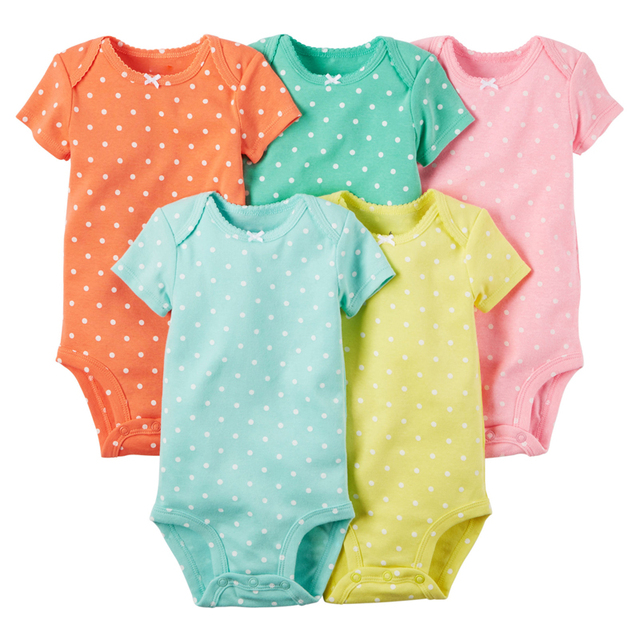 Oneasy 5 Pieces/lot Baby Romper Bodykit Girl and Boy Short Sleeve Dot Print Summer Clothing Set for Newborn Next Jumpsuits & Rom