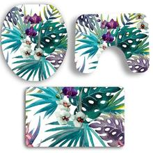 Non Slip Tropical Plants Printed Flannel Bathroom Mats