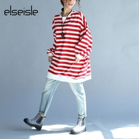 elseisle Plus Size Striped T Shirt Korean Fashion Autumn Long Sleeve Korea Top Tees Stripe Blusa Big Size Casual Women Tops New