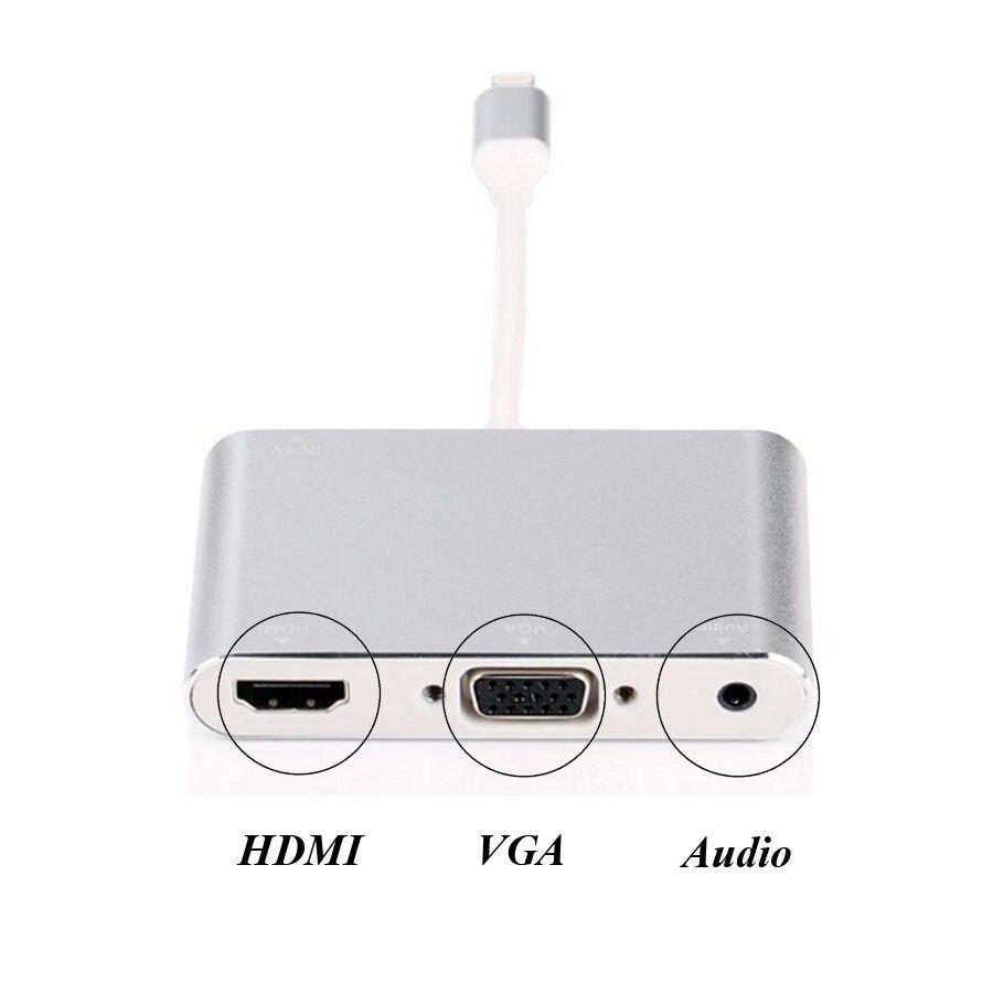 Цена за Новый 3in1 видео адаптер 8 pin к телевизор HDMI VGA проектор аудио конвертер для iPhone 6 6 S 7 7 плюс 5 5S iPad Pro мини к телевизору