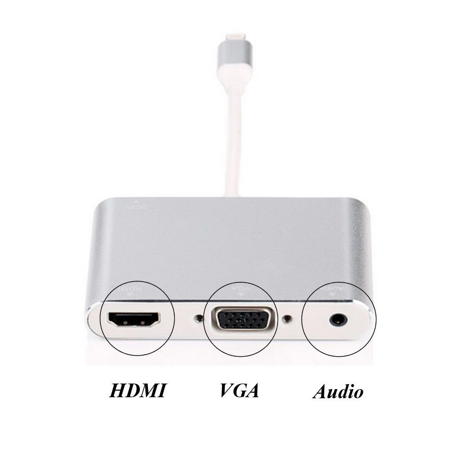 imágenes para NUEVO 3in1 Adaptador de 8 pines a HDMI TV VGA Proyector de Vídeo Audio Converter para el iphone 6 6 S 7 7 Plus 5 5S ipad Pro Mini para TV