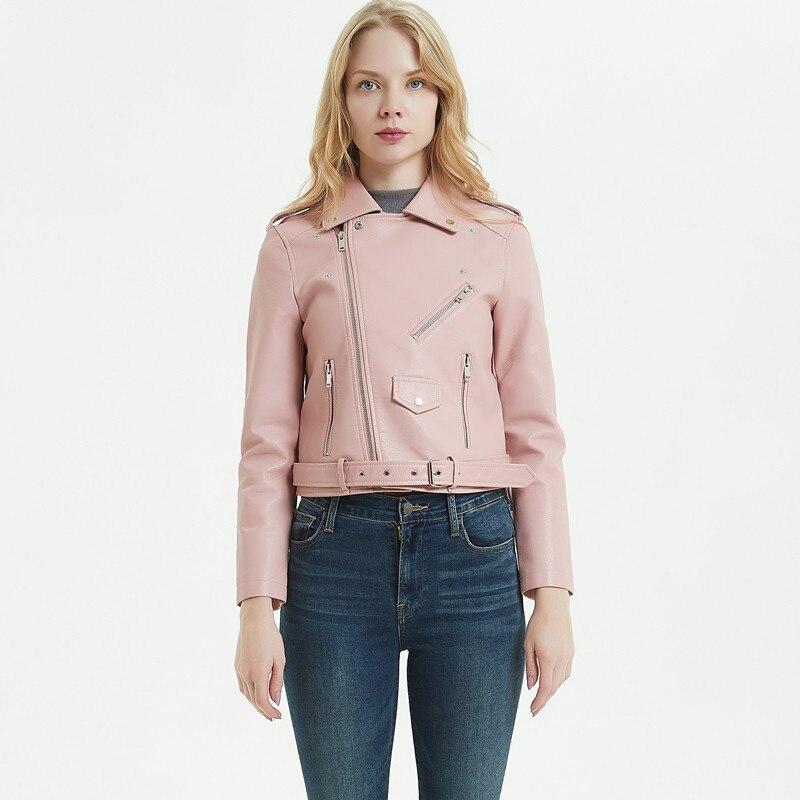 Spring Women Pu Faux   Leather   Moto Pink Jacket Short Lapel Motorcycle Jacket with Belt Girls Coat Autumn Streetwear Large Size