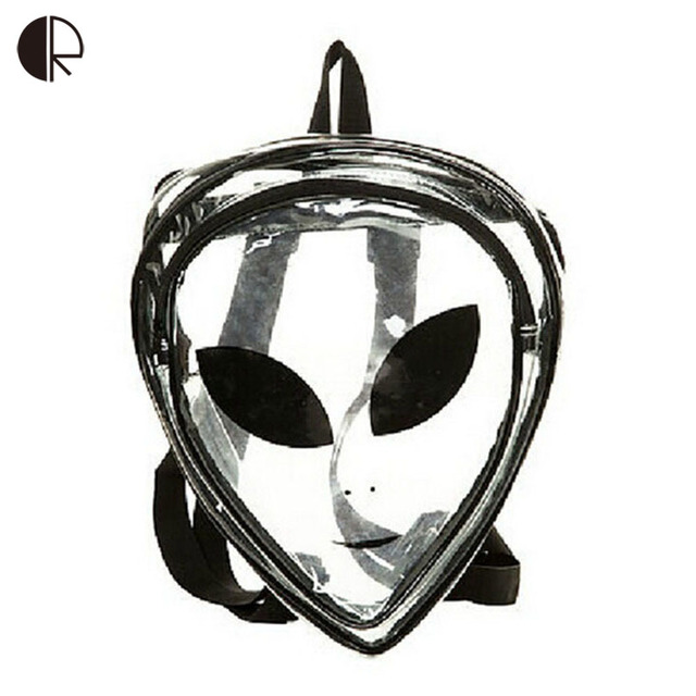 2016 New Unisex Fashion Clear Cartoon Alien School Bags PVC  Special Package Interest Backpacks Hip-Hop Leisure Travel Bag BP085