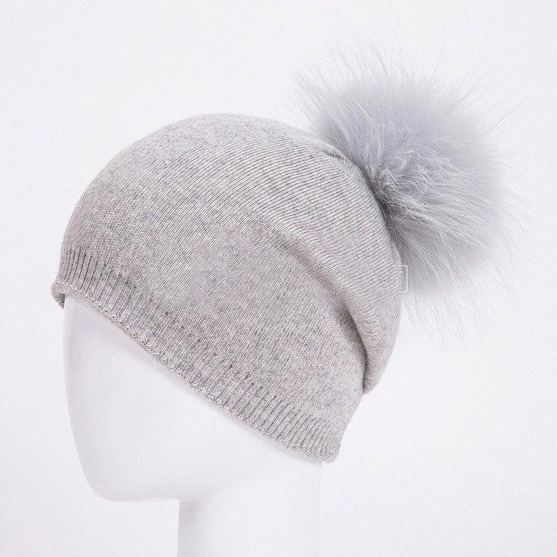 HEE GRAND/женская шапка, зимние вязаные шапки унисекс из шерсти енота, шапки с перьями для мужчин, меховая шапка куполообразная, Прямая поставка PMT089 - Цвет: Color-15