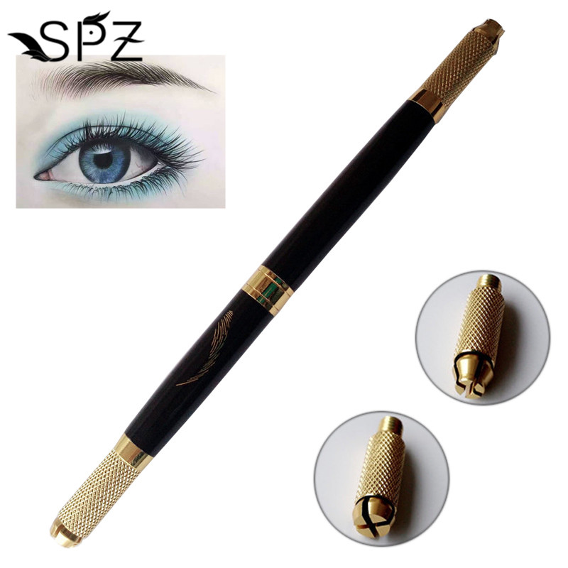 Double Head Microblading Pen Manual Tattoo Machine Needle Blade Permanent Makeup 3D Embroidered Eyebrow Lips Tebori Munsu цена