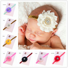 1PCS Photo Prop Outfit Shabby Chic headband Chiffon flower headband Babtism Headband Hair bows Headband(China)