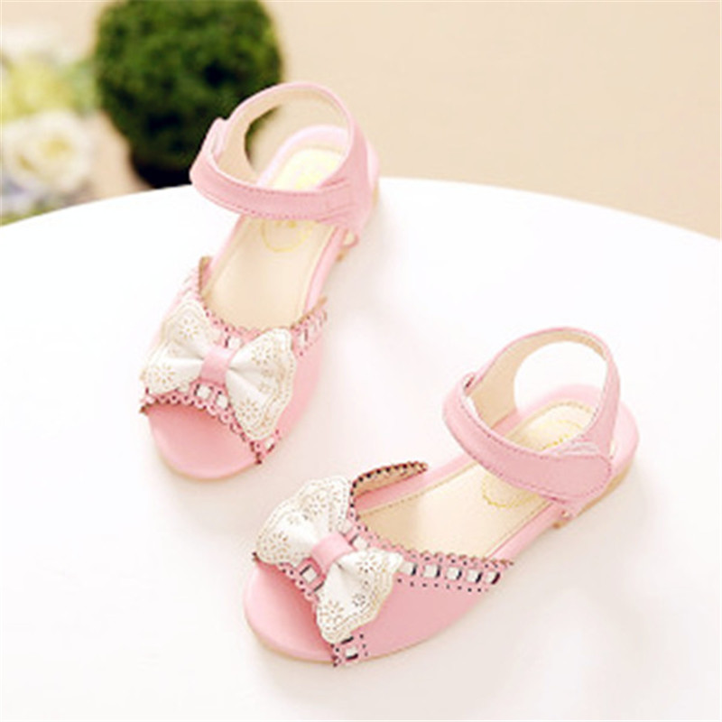 2017 spring summer new girl sandals embroidered bow children princess single shoes baby fish mouth sandals Weave girls shoes