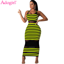 Adogirl Sheer Mesh Patchwork Stripe Tank Dress Women Casual Sundress Sleeveless Bodycon Maxi Club Party Dresses Vestidos