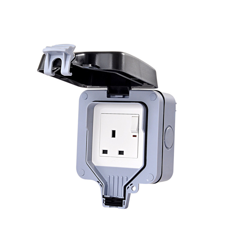 IP66 Weatherproof Waterproof Outdoor Wall Power Socket 13A UK Standard Electrical Outlet Grounded AC 110 250V in Electrical Plug from Consumer Electronics
