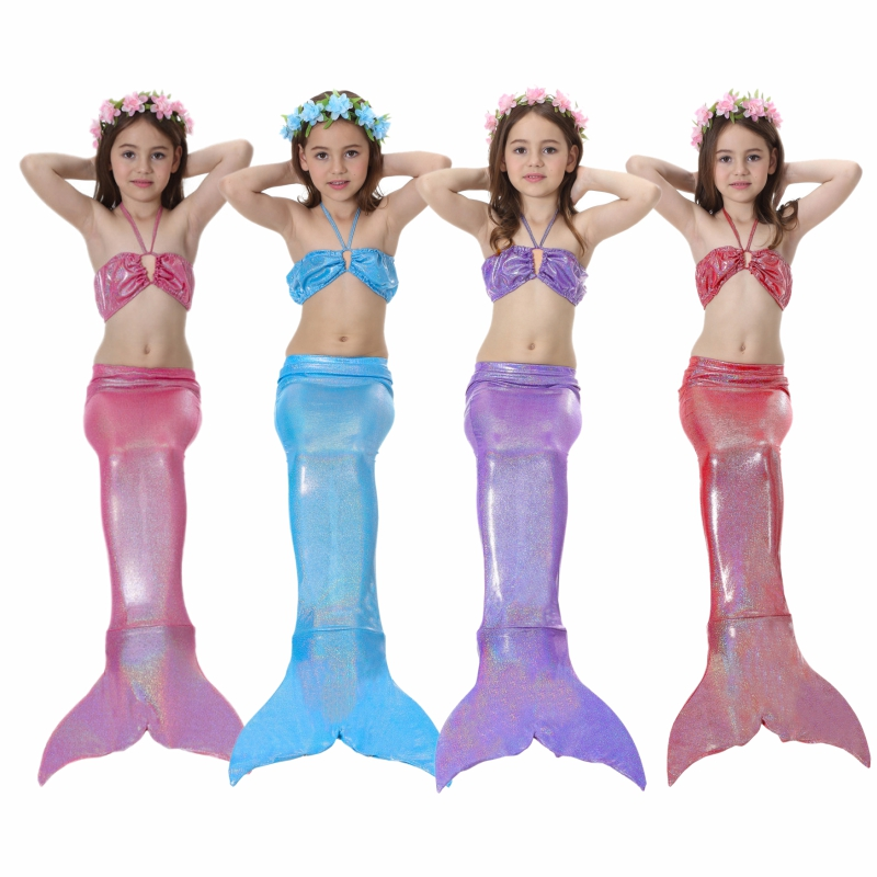 Beach Skirt Pool Party Dress Mermaid Tail W Monofin Top Shorts Princess Costume Cosplay Clothing Halloween Costumes For Kids