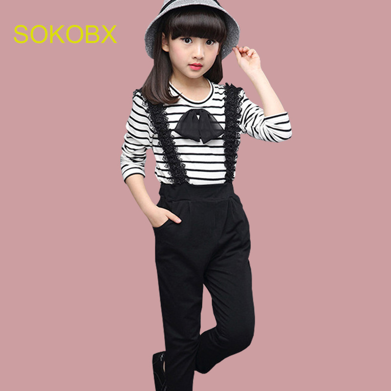 47741fba3b3 SOKOBX Girls Clothes Set Teenage Striped Shirt+ Jumpsuit 2 PCS Kids  Tracksuits Autumn Spring Kids Clothes For Girls 8 10 12 Year