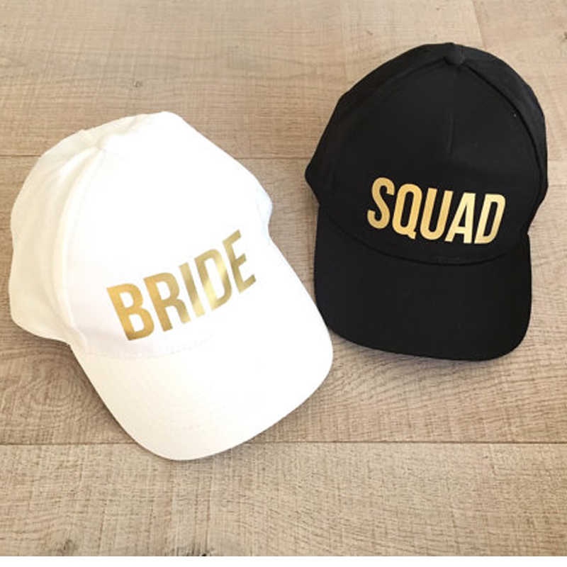 d184f642 BRIDE SQUAD Baseball Caps Golden Print New Style Hats Women Wedding  Preparewear White Black Bachelor party