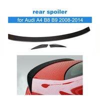 carbon fiber Car Rear trunk spoiler for Audi A4 B8 B9 2008 2014 Boot Spoiler Trunk Trim Sticker Car Styling