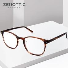 ZENOTTIC Retro Acetate Square Glasses Frames for Women Men Unisex Myopia Optical Eyewear Frames Prescription Eyeglasses