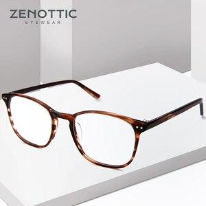 Image 1 - ZENOTTIC Retro Acetate Square Glasses Frames for Women Men Unisex Myopia Optical Eyewear Frames Prescription Eyeglasses
