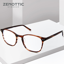 Zenottic Retro Acetaat Vierkante Brilmonturen Voor Vrouwen Mannen Unisex Bijziendheid Optische Brillen Frames Recept Brillen