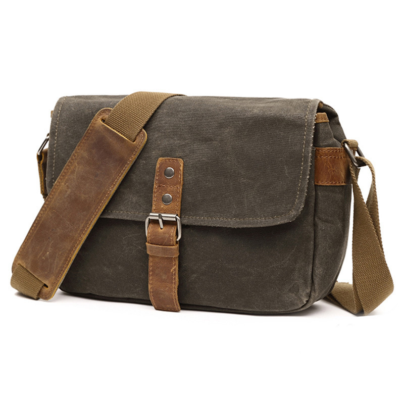 Color : Bronze, Size : M Dig dog bone Mens Messenger Bag Hand Shoulder Bag Oil Wax Canvas With Crazy Horse Bag Waterproof Unisex